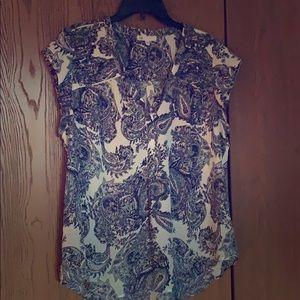 Paisley print cap sleeve blouse sz xl